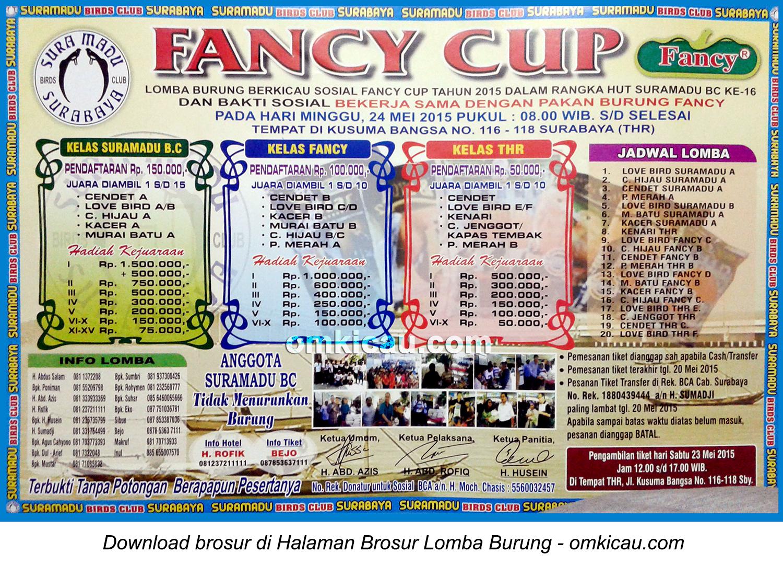 Brosur Lomba Burung Berkicau Fancy Cup, Surabaya, 24 Mei 2015