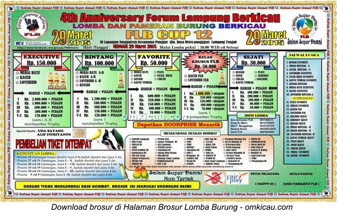 Brosur Lomba Burung Berkicau FLB Cup 12, Lampung Tengah, 29 Maret 2015