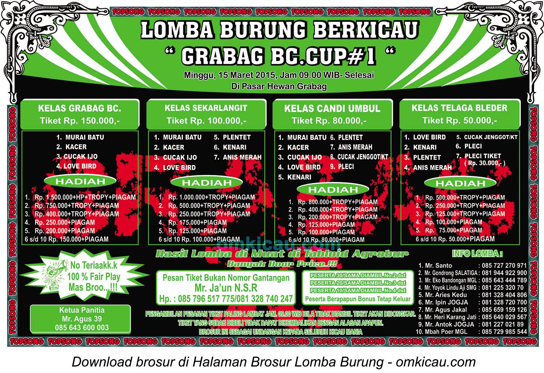 Brosur Lomba Burung Berkicau Grabag BC Cup#1, Magelang, 15 Maret 2015