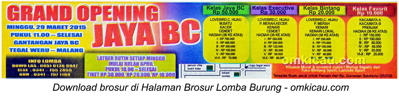 Brosur Lomba Burung Berkicau Grand Opening Jaya BC, Malang, 29 Maret 2015