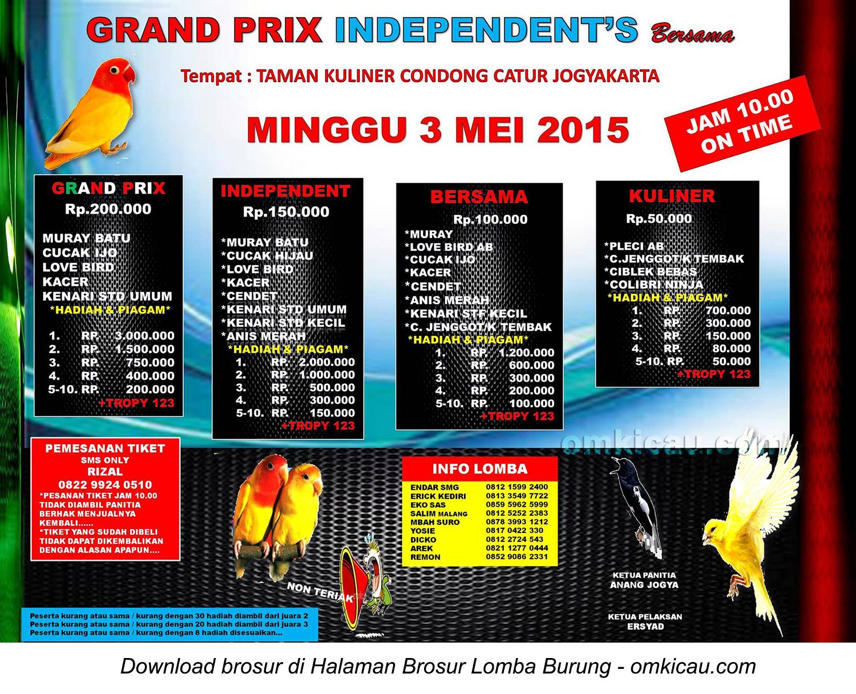 Brosur Lomba Burung Berkicau Grand Prix Independent's, Jogja, 3 Mei 2015