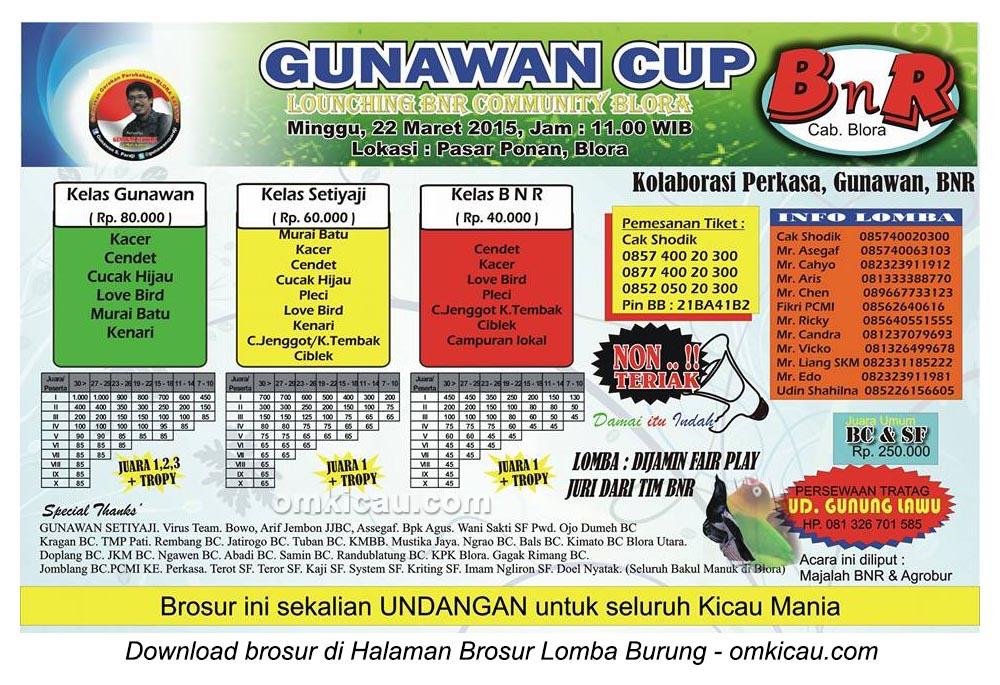 Brosur Lomba Burung Berkicau Gunawan Cup, Blora, 22 Maret 2015