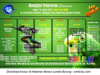 Brosur Lomba Burung Berkicau Hanggar Pancoran Enterprise, Jakarta Selatan, 11 April 2015