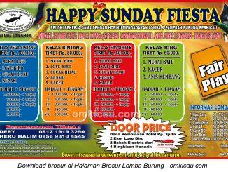 Brosur Lomba Burung Berkicau Happy Sunday Fiesta PBI DKI, Jakarta Selatan, 29 Maret 2015
