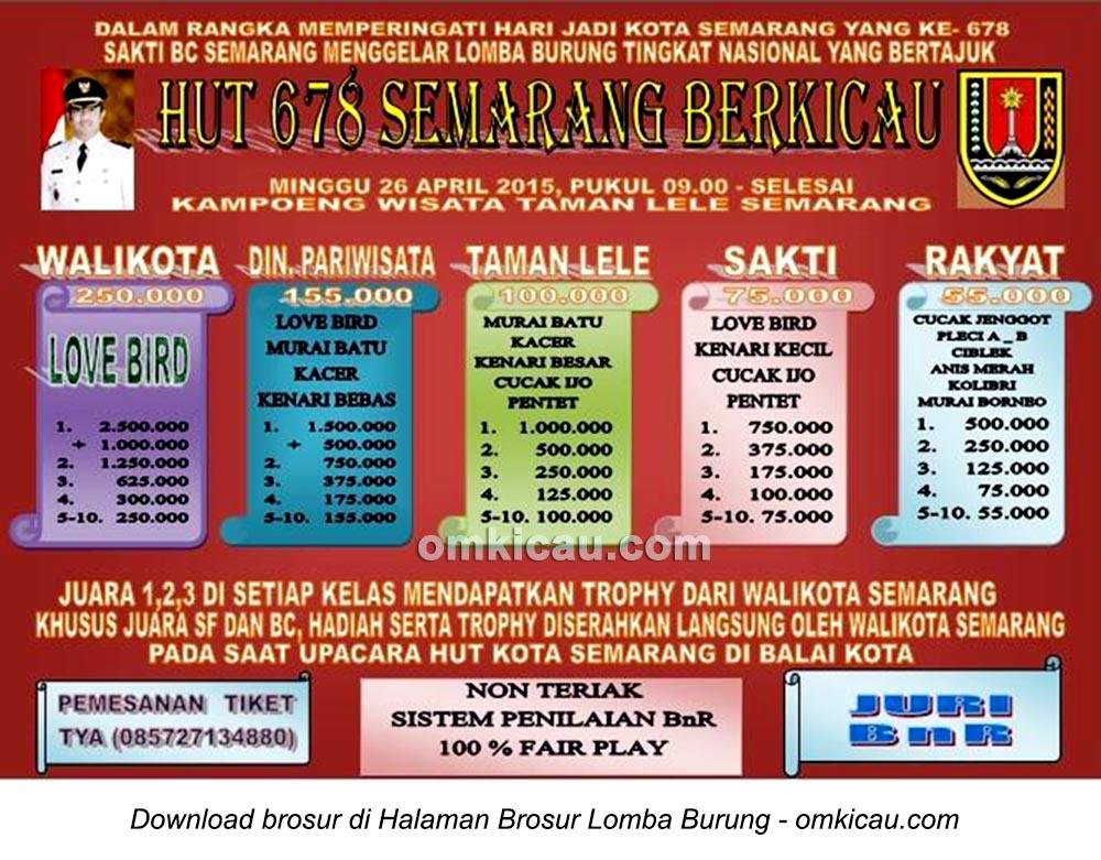 Brosur Lomba Burung Berkicau HUT 678 Semarang Berkicau, 26 April 2015