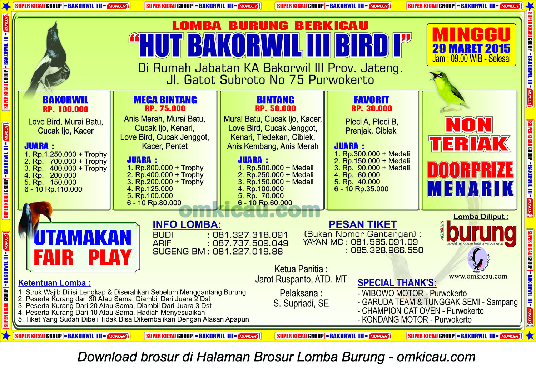 Brosur Lomba Burung Berkicau HUT Bakorwil III Bird I, Purwokerto, 29 Maret 2015