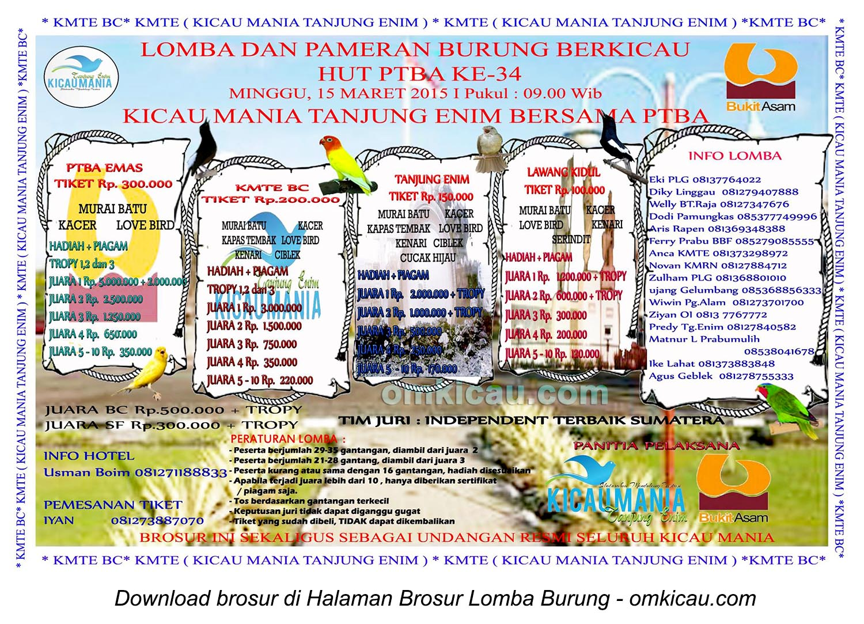Brosur Lomba Burung Berkicau HUT Ke-34 PTBA, Tanjung Enim, 15 Maret 2015