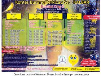Brosur Lomba Burung Berkicau Kartini Cup I, Pontianak, 19 April 2015