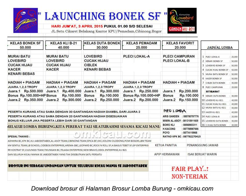 Brosur Lomba burung Berkicau Launching Bonek SF Bogor, 3 April 2015
