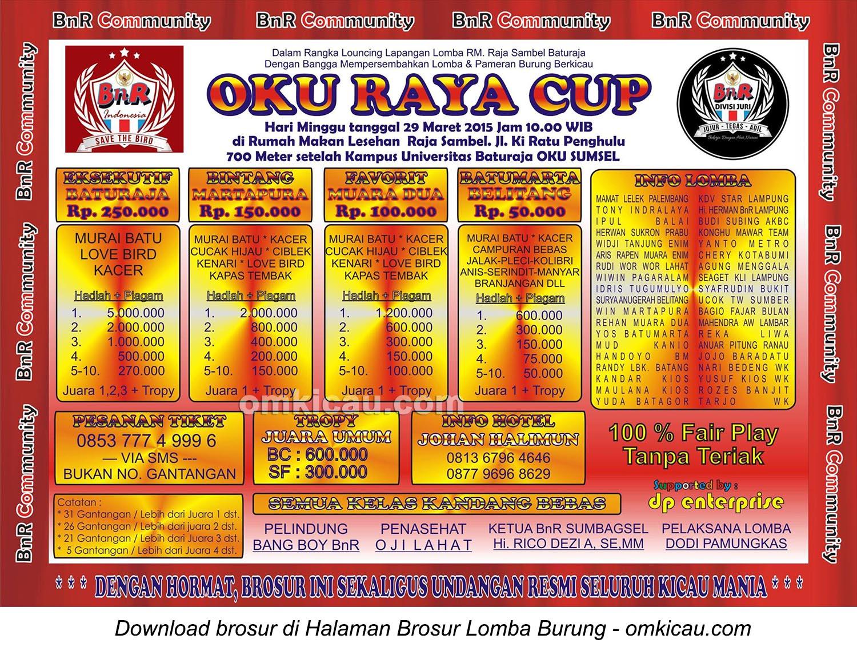 Brosur Lomba Burung Berkicau OKU Raya Cup, Baturaja, 29 Maret 2015