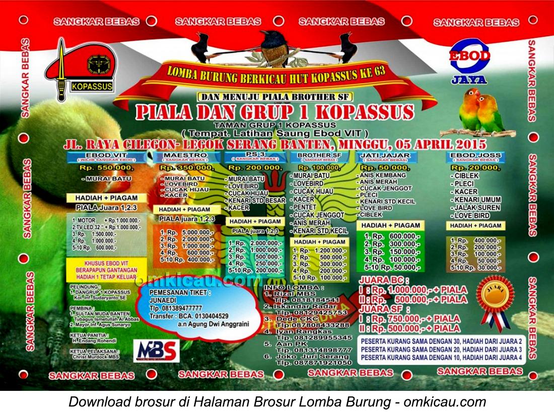 Brosur Lomba Burung Berkicau Piala Dan Grup 1 Kopassus, Serang, 5 April 2015