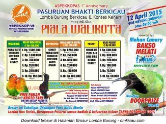 Brosur Lomba Burung Berkicau Piala Wali Kota, Pasuruan, 12 April 2015