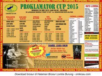 Brosur Lomba Burung Berkicau Proklamator Cup, Blitar, 24 Mei 2015