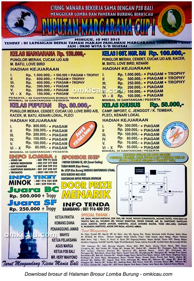 Brosur Lomba Burung Berkicau Puputan Margarana Cup I, Tabanan, 10 Mei 2015