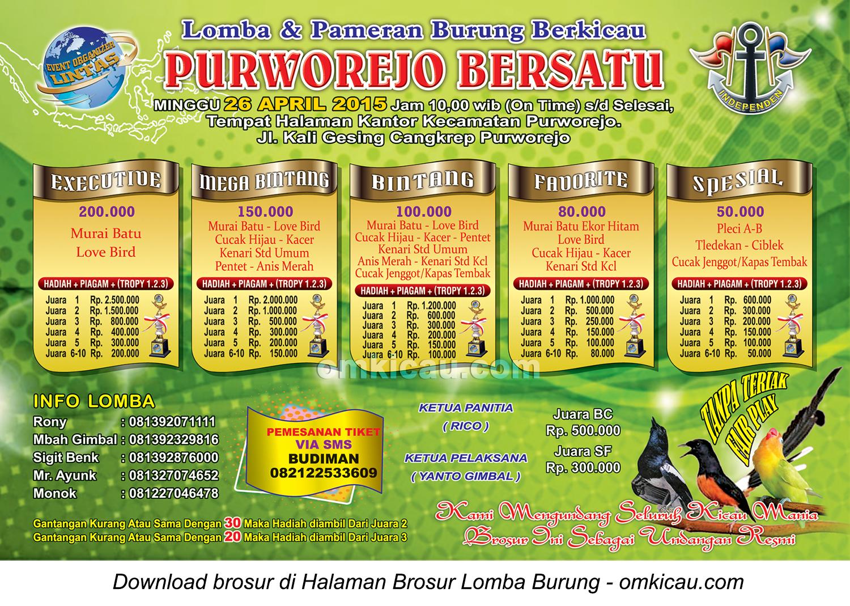 Brosur Lomba Burung Berkicau Purworejo Bersatu, Purworejo, 26 April 2015