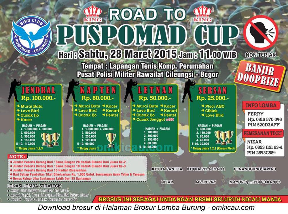 Brosur Lomba Burung Berkicau Road to Puspomad Cup, Bogor, 28 Maret 2015