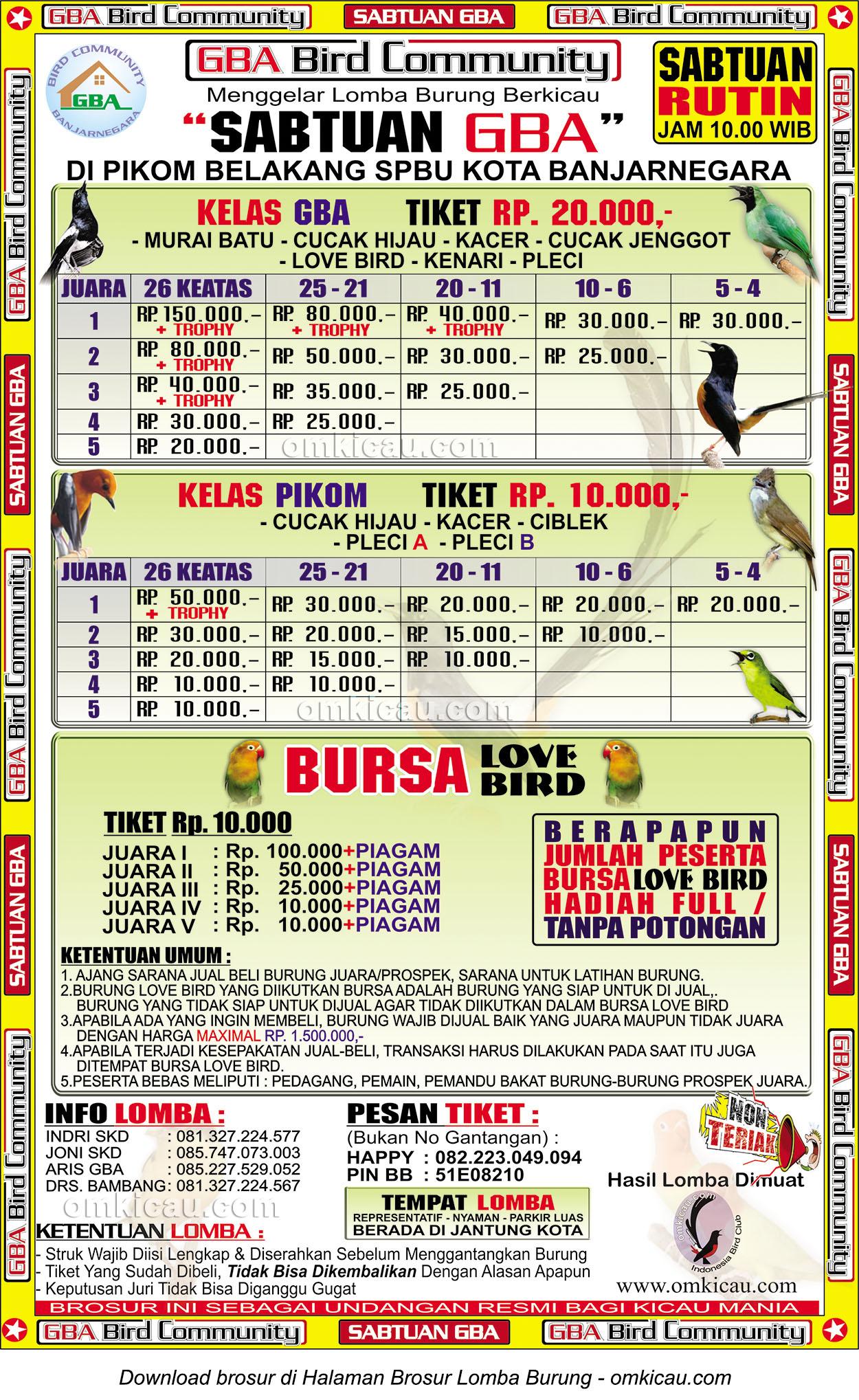 Brosur Lomba Burung Berkicau Sabtuan GBA, Banjarnegara, 28 Maret 2015