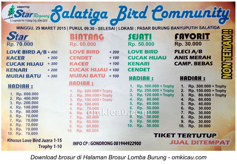 Brosur Lomba Burung Berkicau Salatiga Bird Community, 29 Maret 2015
