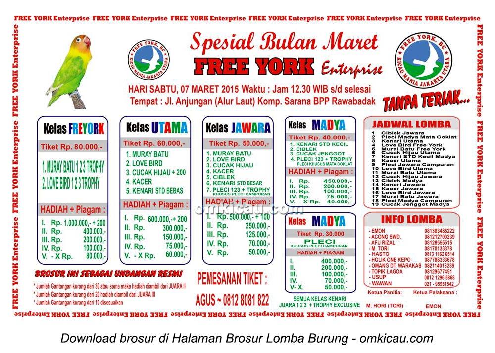 Brosur Lomba Burung Berkicau Spesial Bulan Maret Free York Enterprise, Jakarta, 7 Maret 2015