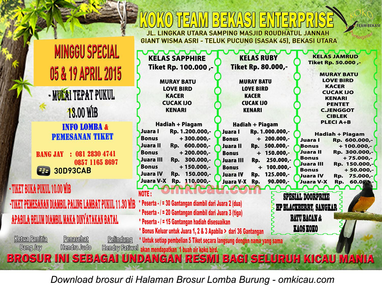 Brosur Lomba Burung Berkicau Spesial Bulanan Koko Team, Bekasi, 5&19 April 2015