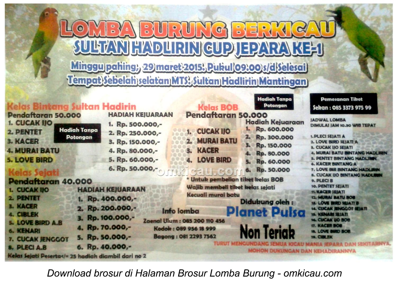 Brosur Lomba Burung Berkicau Sultan Hadlirin Cup I, Jepara, 29 Maret 2015