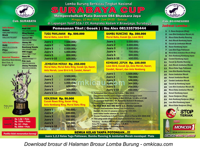 Brosur Lomba Burung Berkicau Surabaya Cup, Surabaya, 10 Mei 2015