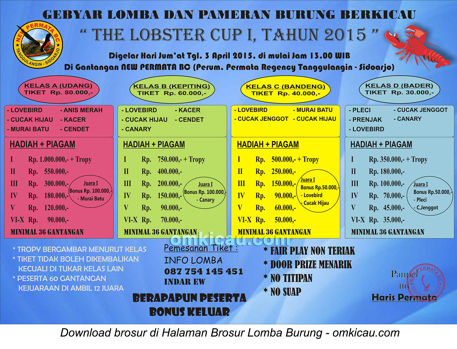 Brosur Lomba Burung Berkicau The Lobster Cup I, Sidoarjo, 5 April 2015