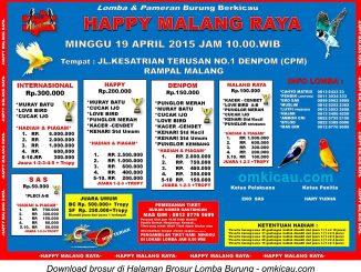 Brosur Lomba Burung Happy Malang Raya, Malang, 19 April 2015.