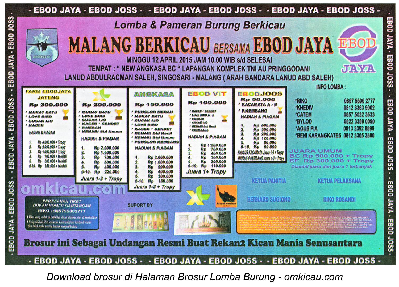 Brosur Lomba Burung Malang Berkicau, Malang, 12 April 2015