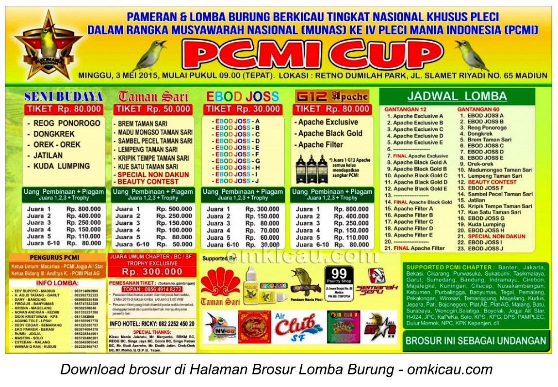 Brosur Lomba Burung Pleci PCMI Cup, Madiun, 3 Mei 2015