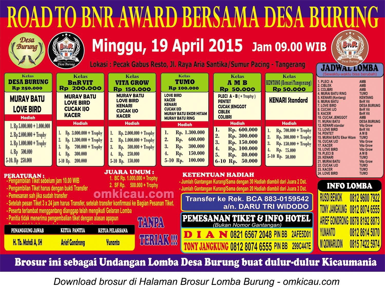 Brosur Lomba Burung Road to BnR bersama Desa Burung, Tangerang, 19 April 2015