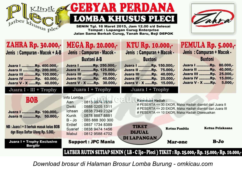 Brosur Lomba Khusus Pleci - Gebyar Perdana Zahra, Depok, 16 Maret 2015