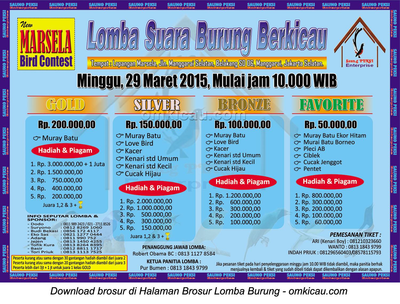 Brosur Lomba Suara Burung Berkicau New Marsela BC, Jakarta Selatan, 29 Maret 2015