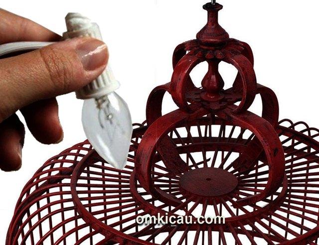 Membuat sangkar lampu hias dari sangkar bekas