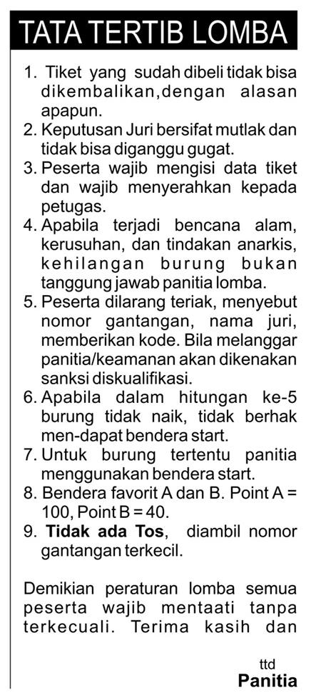 Tata tertib lomba Soeharto Cup II
