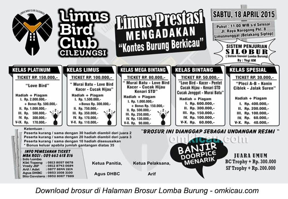 Brosur Kontes Burung Berkicau Limus BC, Bogor, 18 April 2015