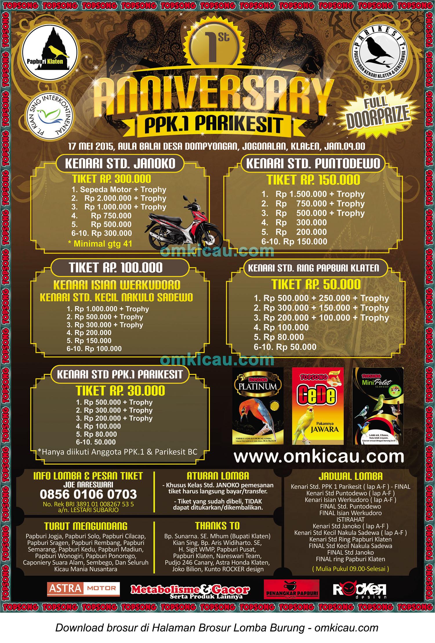 Brosur Kontes Kenari 1st Anniversary PPK1 Parikesit, Klaten, 17 Mei 2015
