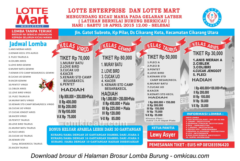 Brosur Latber Burung Berkicau Lotte Enterprise, Cikarang, 18 April 2015