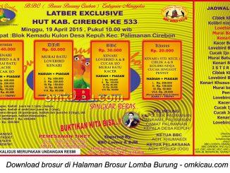 Brosur Latber Exclusive HUT Ke-533 Kabupaten Cirebon, 19 April 2015