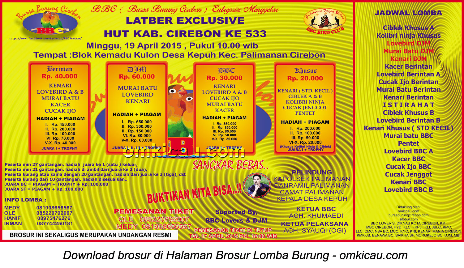 Brosur Latber Exclusive HUT Ke-533 Kabupaten Cirebon, 19 April 2015