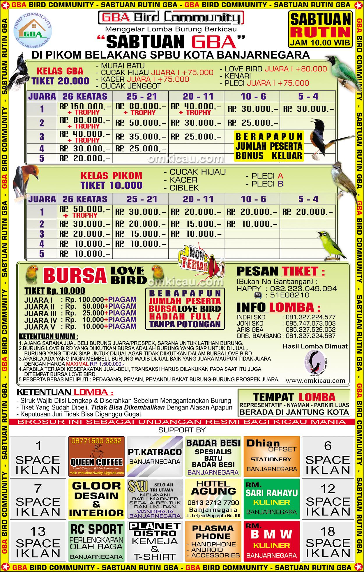 Brosur Latber Sabtuan GBA Banjarnegara setiap Sabtu