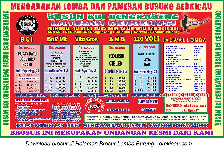 Brosur Latihan Bergengsi Rusun BCI Cengkareng, Jakarta Barat, 10 Mei 2015
