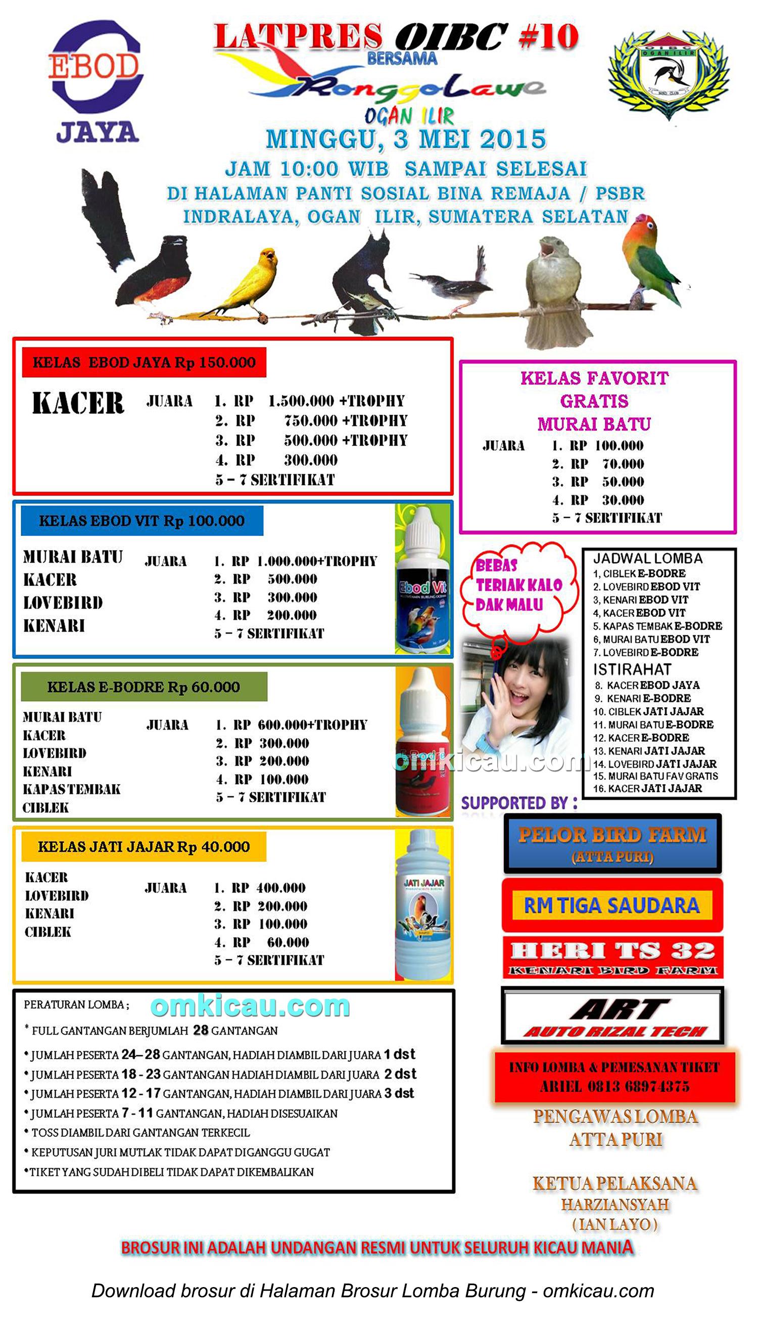 Brosur Latpres Burung Berkicau OIBC#10, Ogan Ilir, 3 Mei 2015