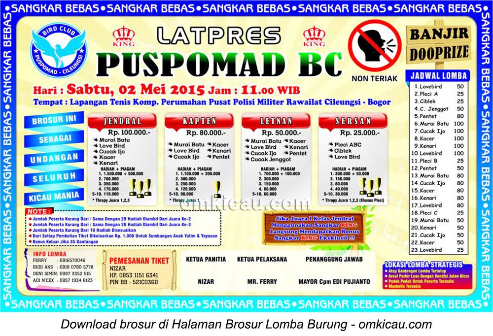 Brosur Latpres Burung Berkicau Puspomad BC, Bogor, 2 Mei 2015