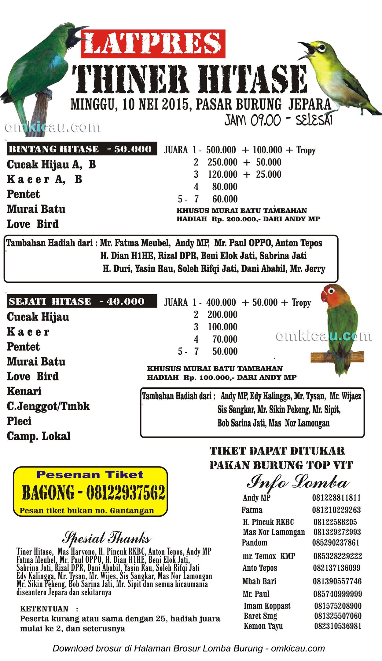 Brosur Latpres Burung Berkicau Thiner Hitase di Jepara, 10 Mei 2015