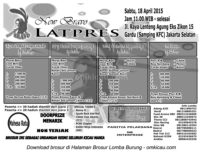 Brosur Latpres New Bravo Enterprise, Jakarta Selatan, 18 April 2015