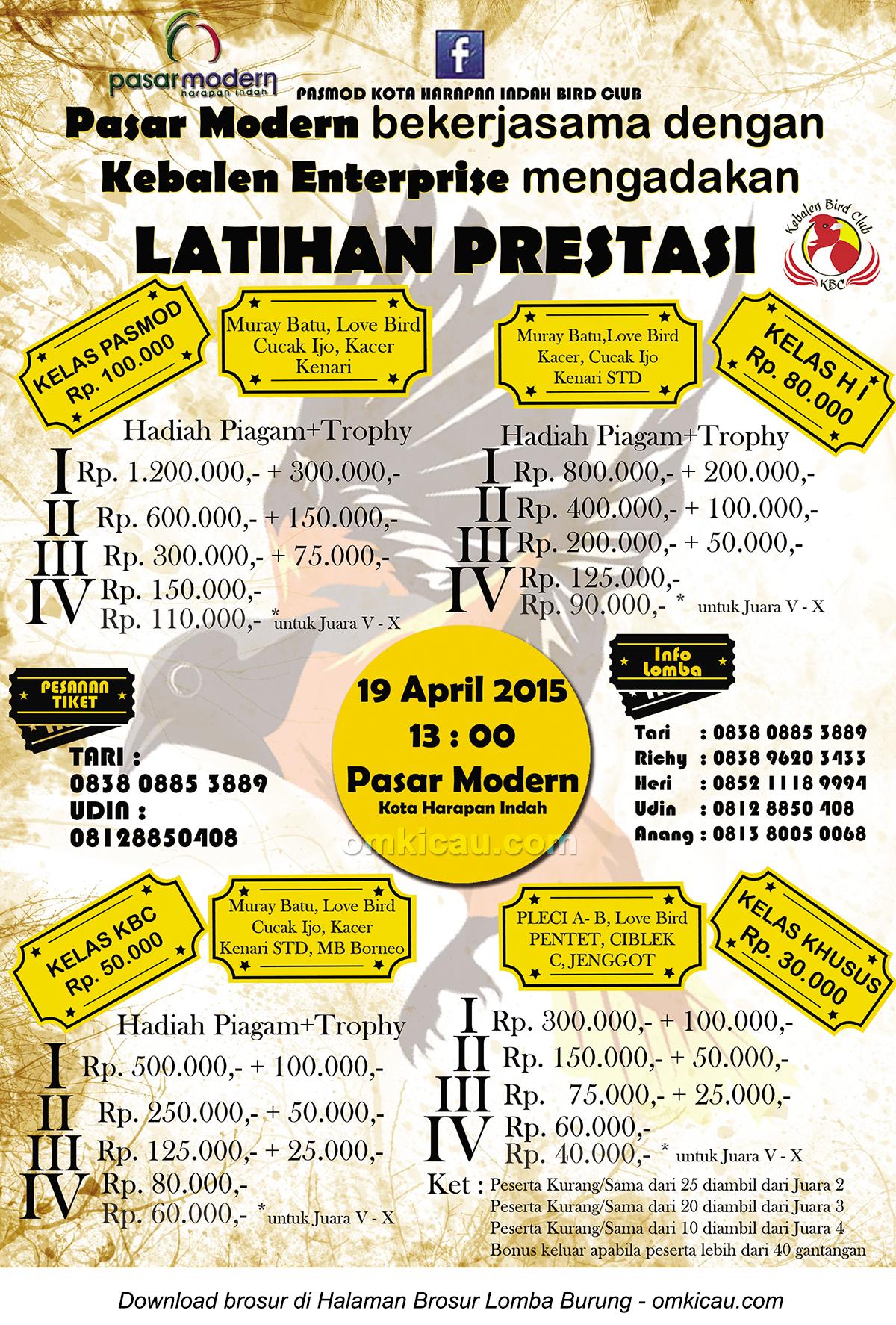 Brosur Latpres Pasar Modern Kota Harapan Indah, Bekasi, 19 April 2015