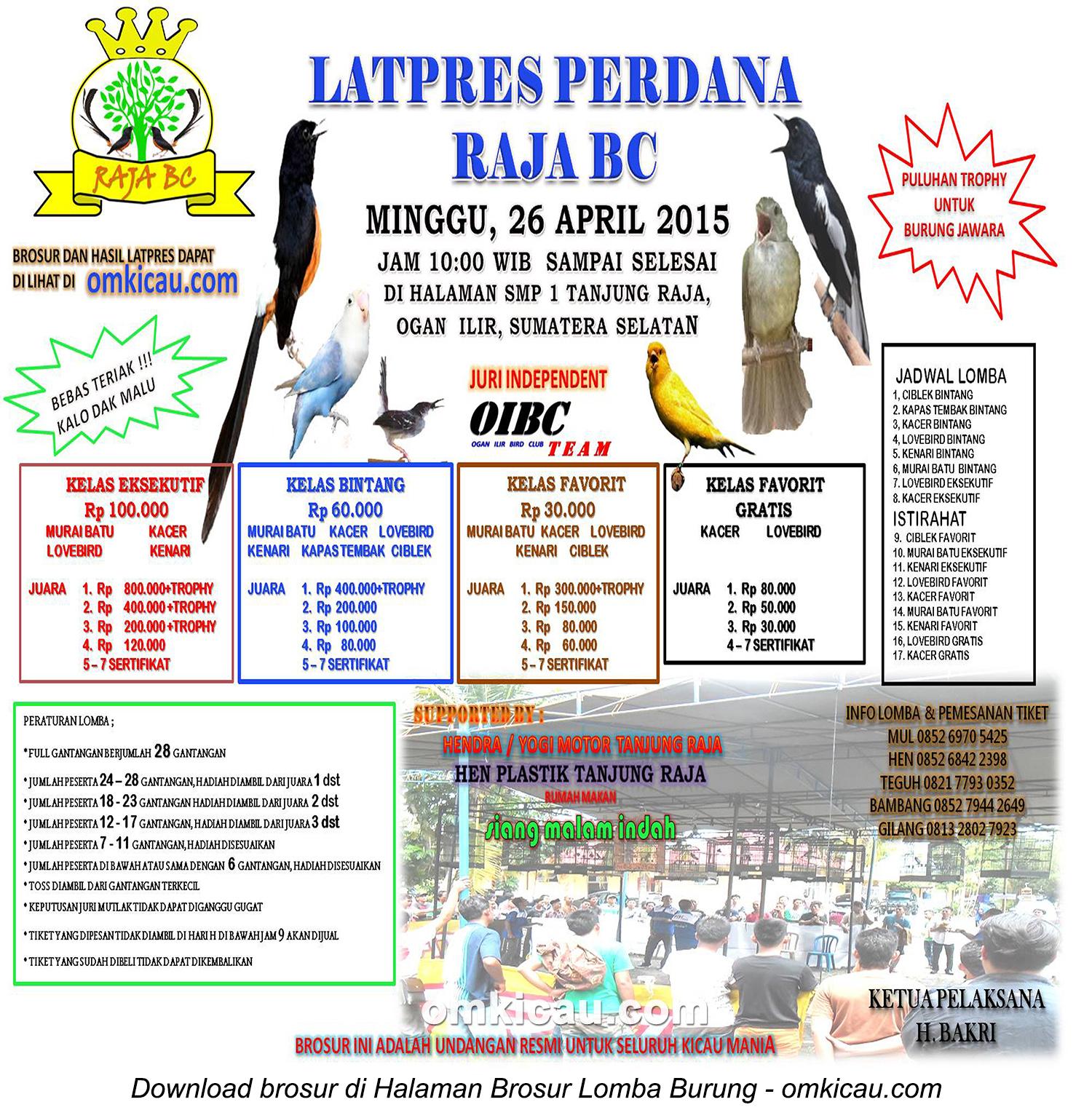 Brosur Latpres Perdana Raja BC, Ogan Ilir, 26 April 2015