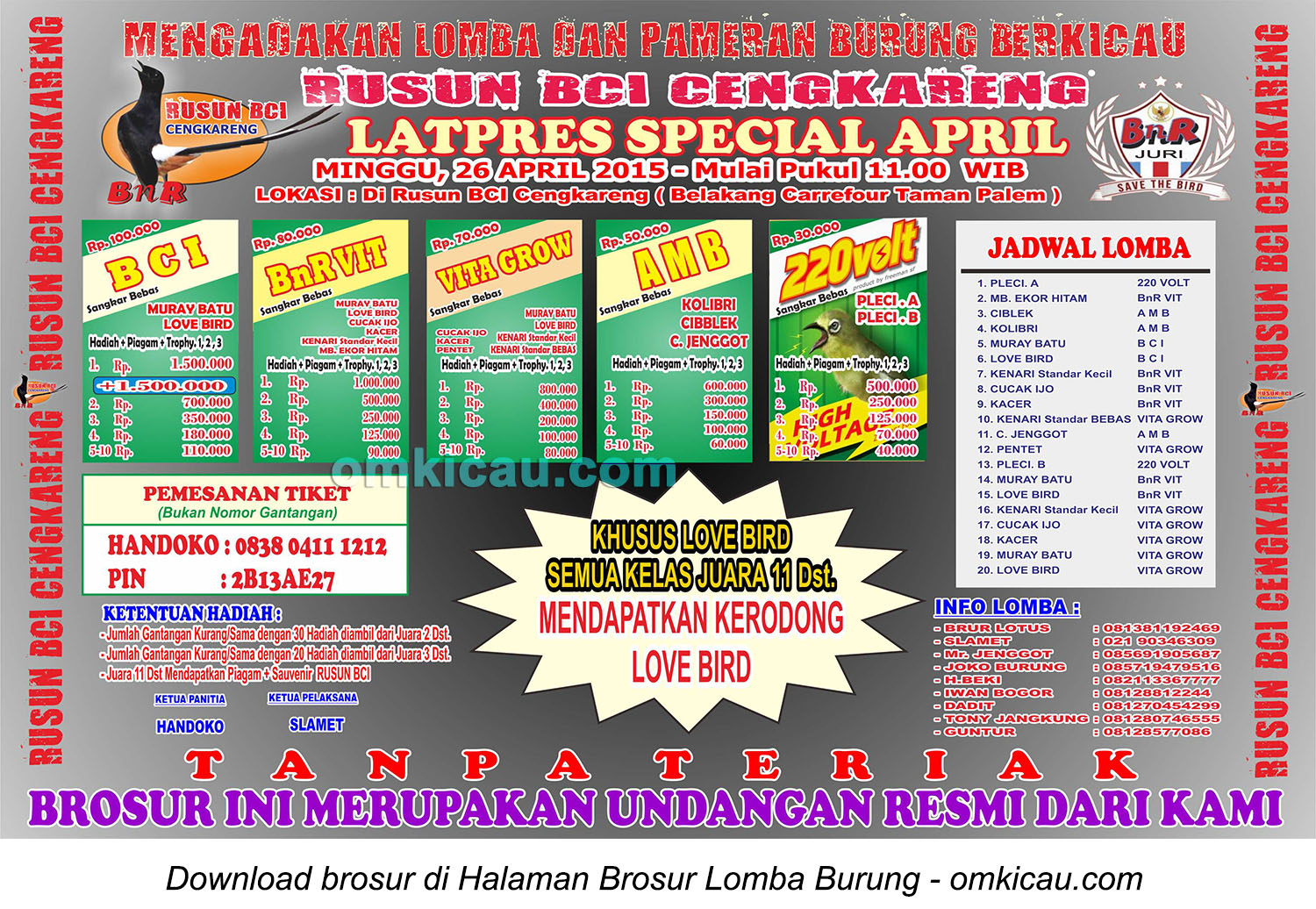 Brosur Latpres Special April - Rusun BCI Cengkareng, 26 April 2015