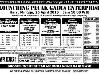 Brosur Launching Pecak Gabus Enterprise Tangerang, 26 April 2015